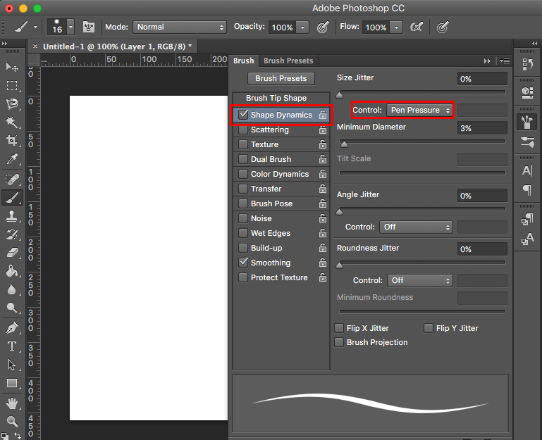 Pressure sensitive brush setting in Photoshop