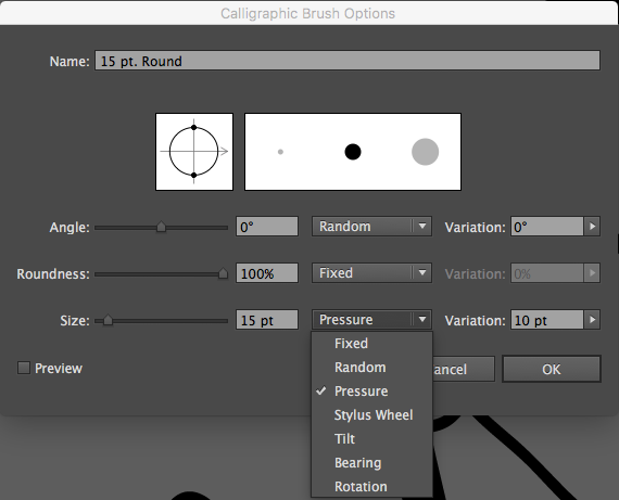 Illustrator brush size variation by pressure sensitivity